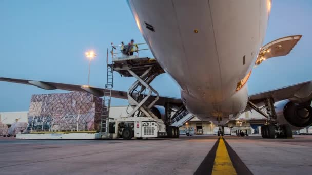 Loading cargo plane outside air freight logistic