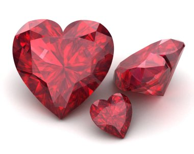 Beautiful gems on a white background , 3D illustration.