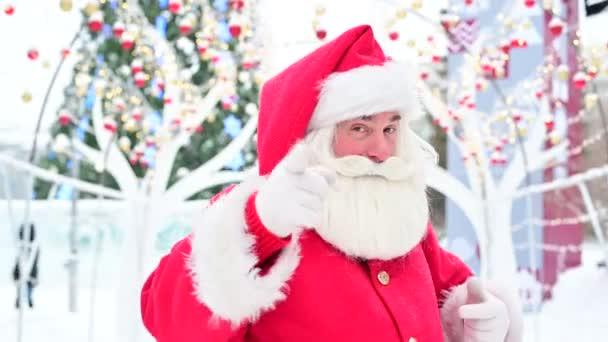 Portrét staršího muže oblečeného jako Santa Claus na pozadí vánoční strom venku.