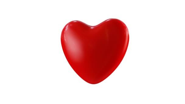 Nagy Vörös Szív. 3D animáció egy nagy piros szív forog HDRI reflexiók / Valentin-napi koncepció