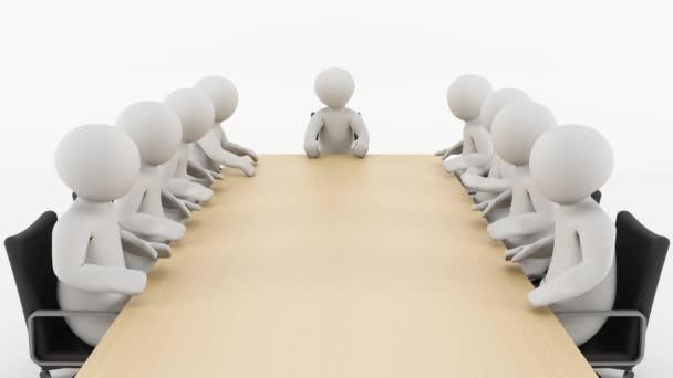 Geschäftstreffen. 3D-Menschen sitzen und sprechen in einem Geschäftstreffen