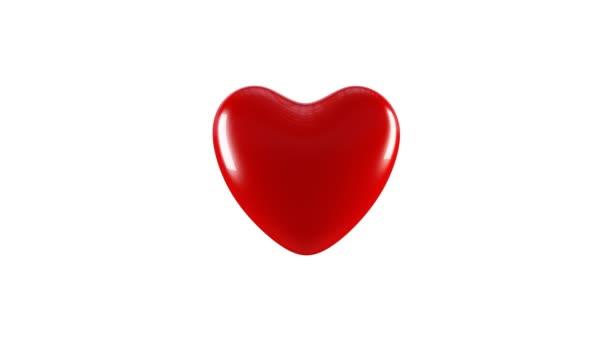 Heartbeat - 3D animace velkého červeného srdečního rytmu, pulzujícího nebo bušícího srdce / koncept Valentýna