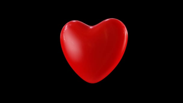 Big Red Heart. 3D animation of a big red heart spinning with HDRI reflections / Valentines Day concept