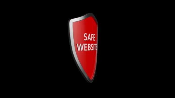 Biztonságos honlap ikon animáció. Spinning safe website shield ikon vagy logó 3D animációja