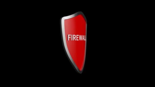 Tűzfal web ikon animáció. Spinning firewall shield ikon vagy logó 3D animációja
