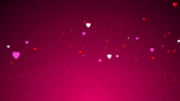 Valentines Day animated background. 4K 3D rendering of heart shaped particles swirling around - Valentines Day concept