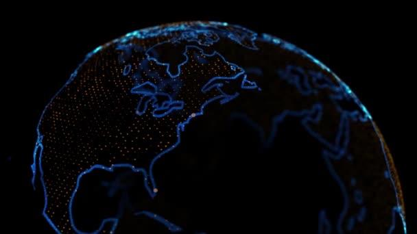 Sčítání lidu Miami2020. 4k 3D holografická Země představující velká města v USA s populačními daty zakreslenými. 2020 Miami podle úřadu pro sčítání lidu