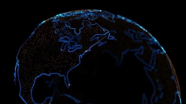 Sčítání lidu New Yorku2020. 4k 3D holografická Země představující velká města v USA s populačními daty zakreslenými. 2020 Obyvatelstvo New Yorku podle sčítacího úřadu