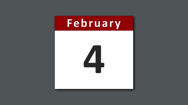February calendar - leap year 29 days. February calendar with extra day added for leap year. Flipping and tearing the pages of the days for the entire month of February