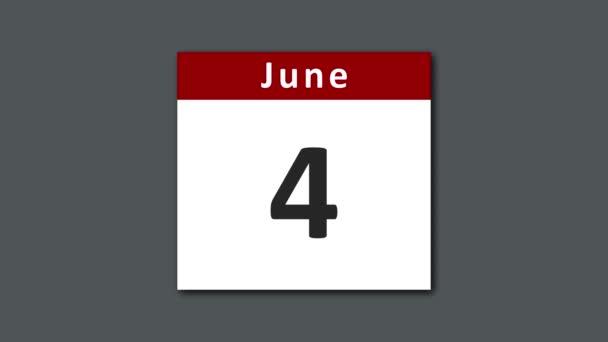 Červnový kalendář se otáčí a trhá stránky dnů za celý červen