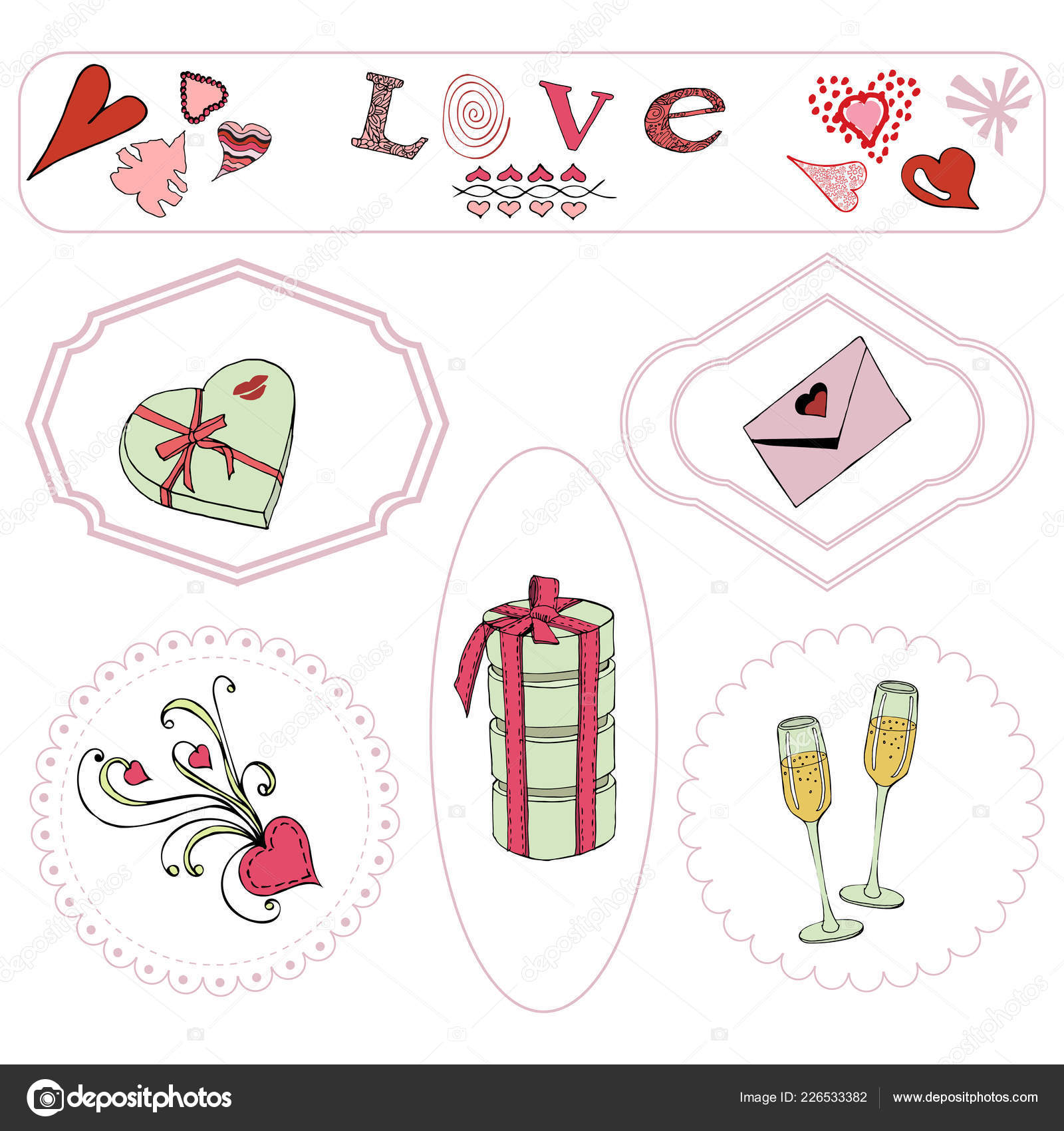 Valentine\'s Day theme elements. Hand drawn and colored objects in ...
