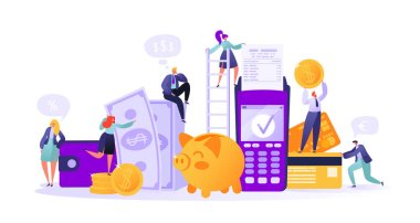 Business and finance theme. Concept of online banking, money transaction technology. Credit card and payment terminal. Business people pay coins cash. Flat People Characters Making Money.