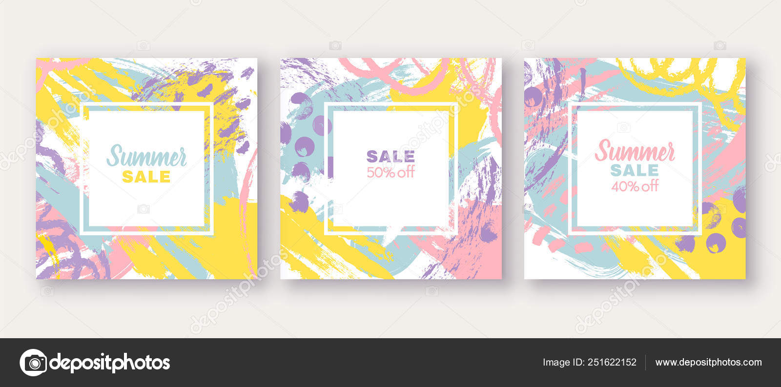 Set Of Poster Greeting Invitation Card Template Design