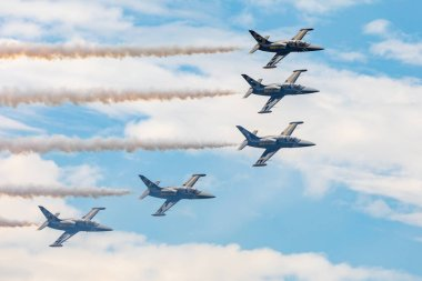 Belgium, Kleine-Brogel - 9.9.2018 Breitling Jet Team display during the Belgian Air Force Days 9.9.2018 in Kleine-Brogel, Belgium