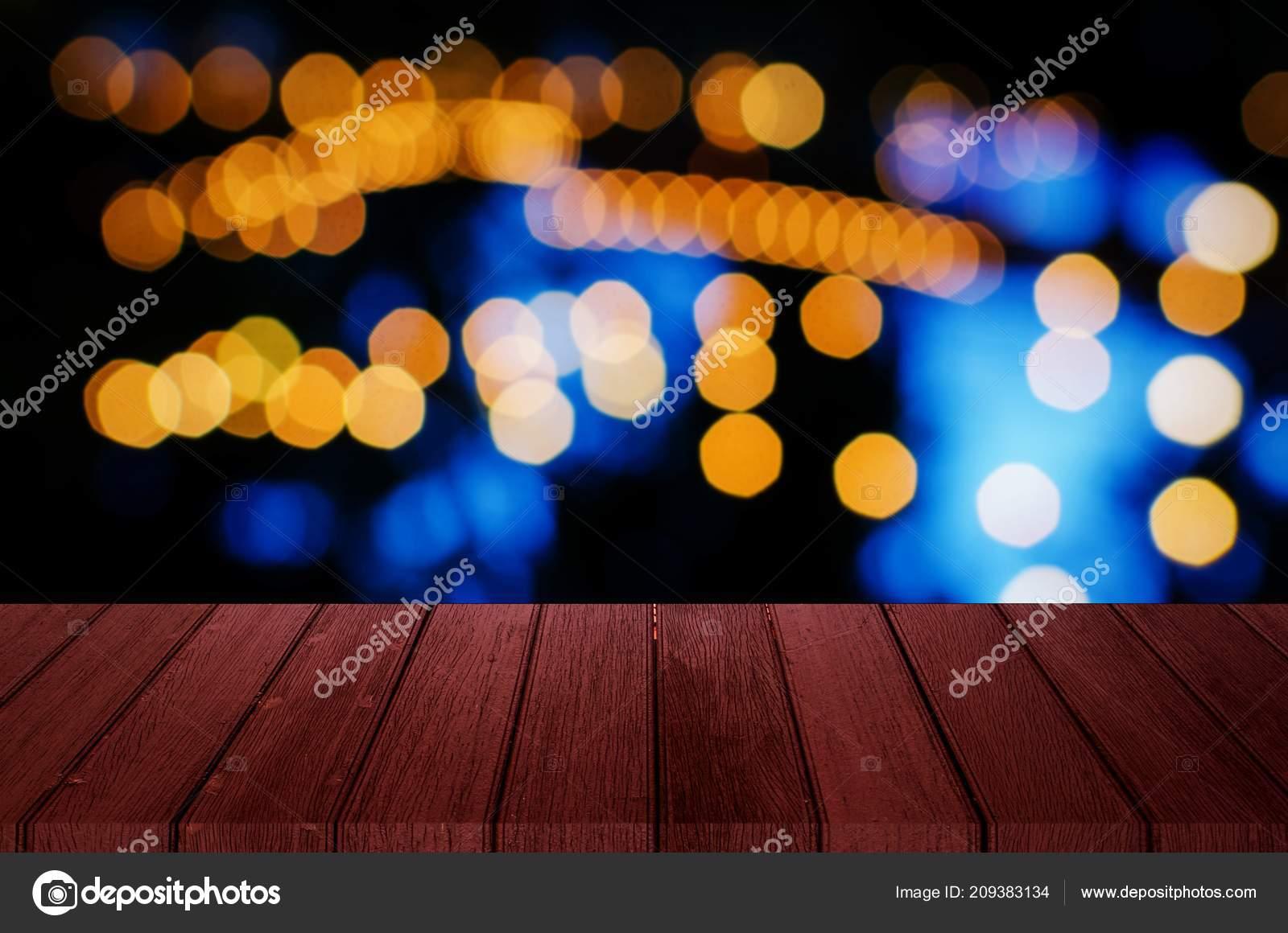 Vacío Rojo Madera Terraza Madera Con Bokeh Luz Resumen Noche