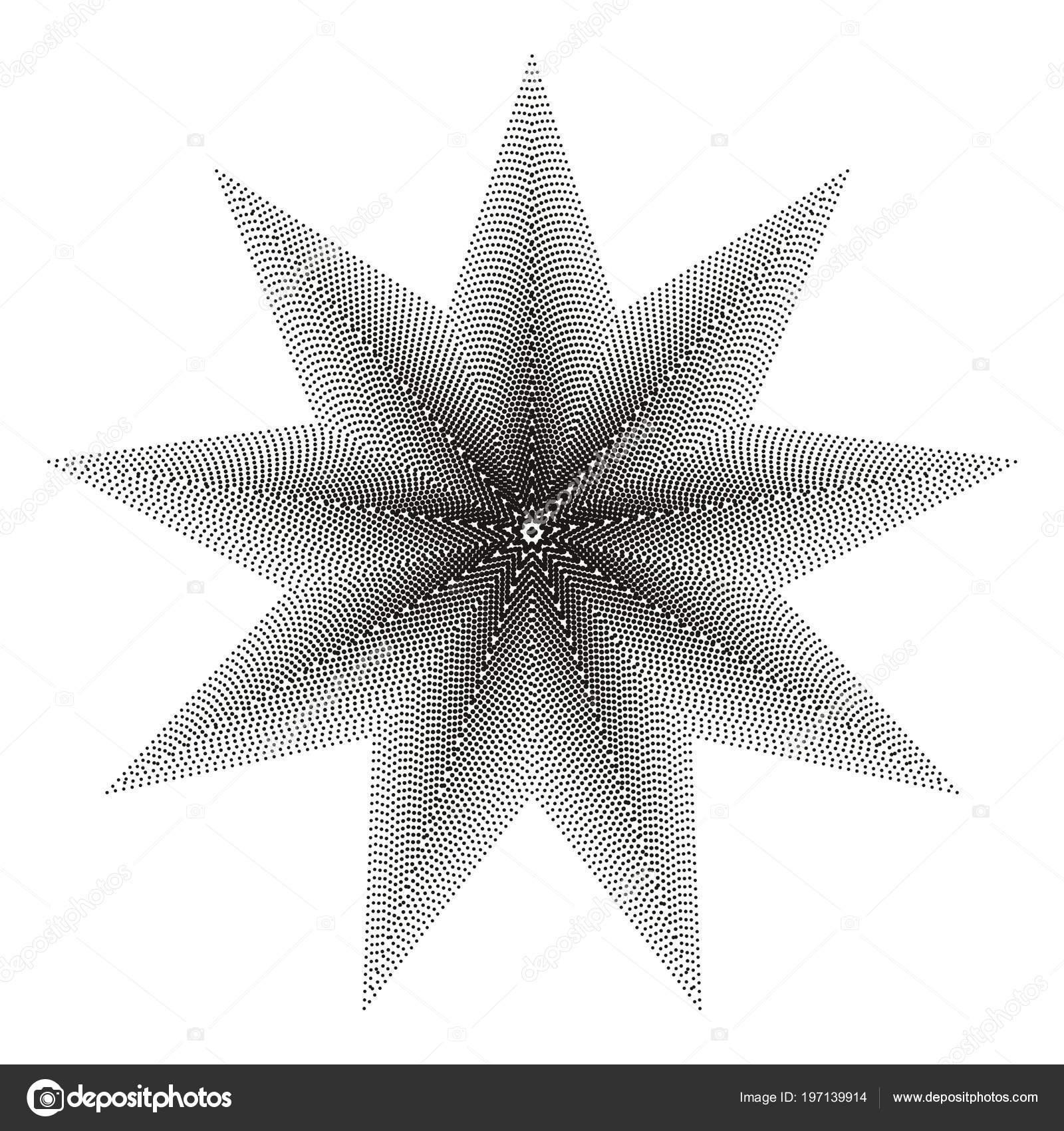 Halftone Black Nine Pointed Star White Background — Stock Vector ...