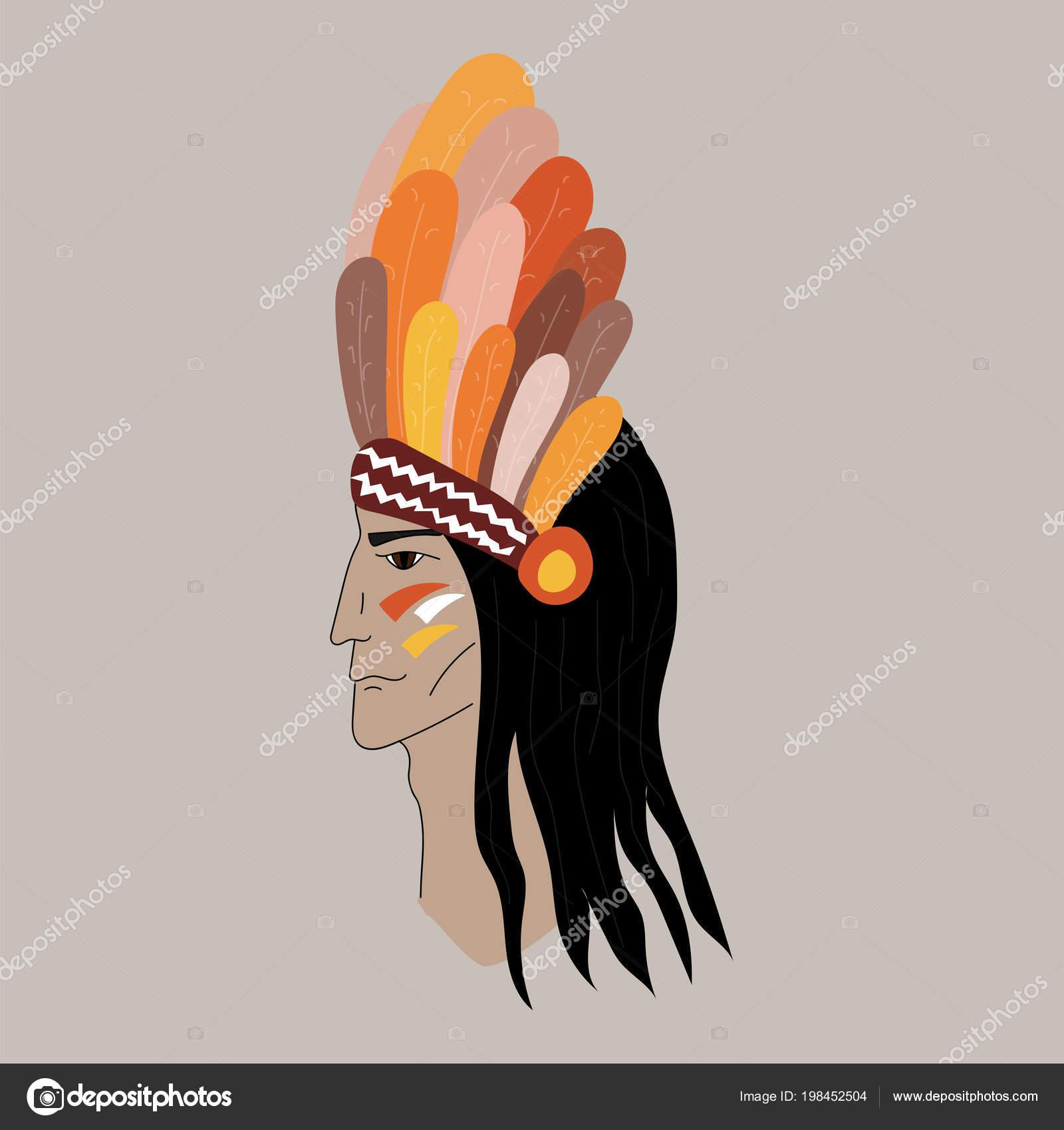 Retrato Silueta Perfil Indígena Jefe Indio Rojo Llevando Tradicional ...
