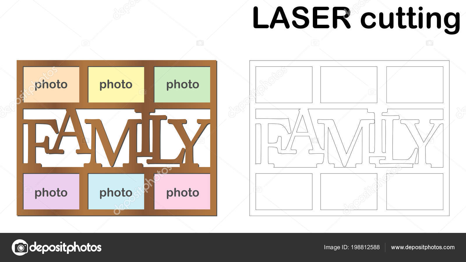Marco Para Fotos Con Inscripción Familia Corte Por Láser Collage ...