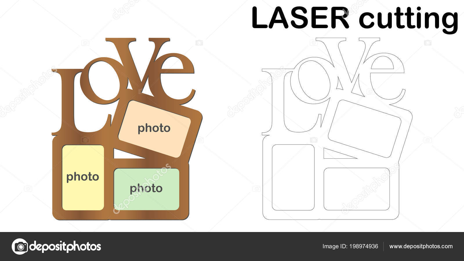 Frame Photos Inscription Love Laser Cutting Collage Photo Frames ...