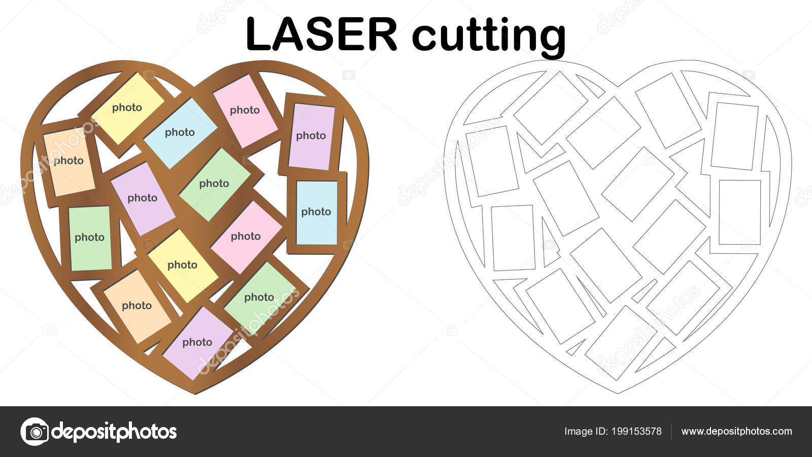 Herzförmige Rahmen Für Fotos Für Das Laserschneiden Collage ...