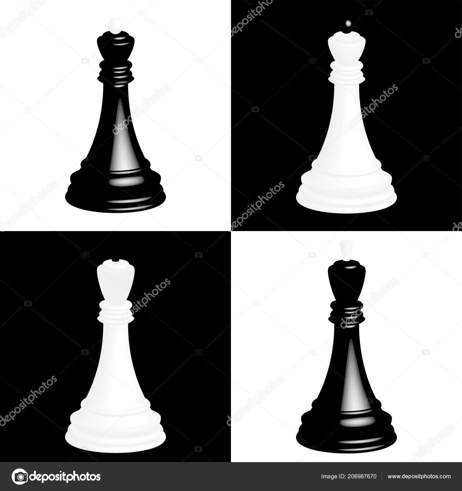 Realistic chess pieces on black and white chessboard cells the black king and the black queen white king and white queen