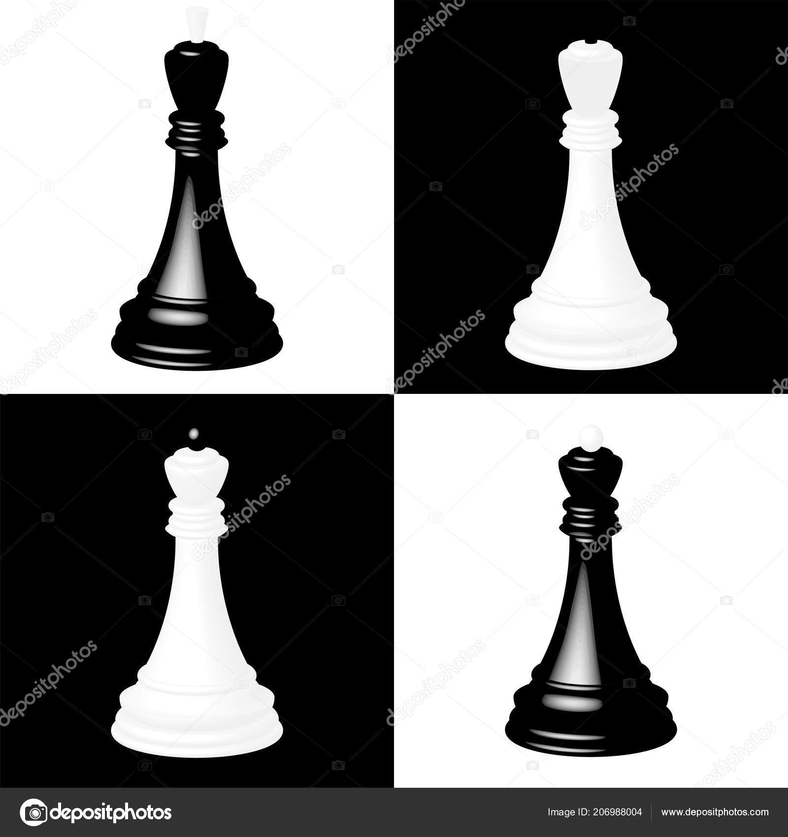 Captivating Realistic Chess Pieces Black White Chessboard Cells Black King Black U2014  Stock Vector