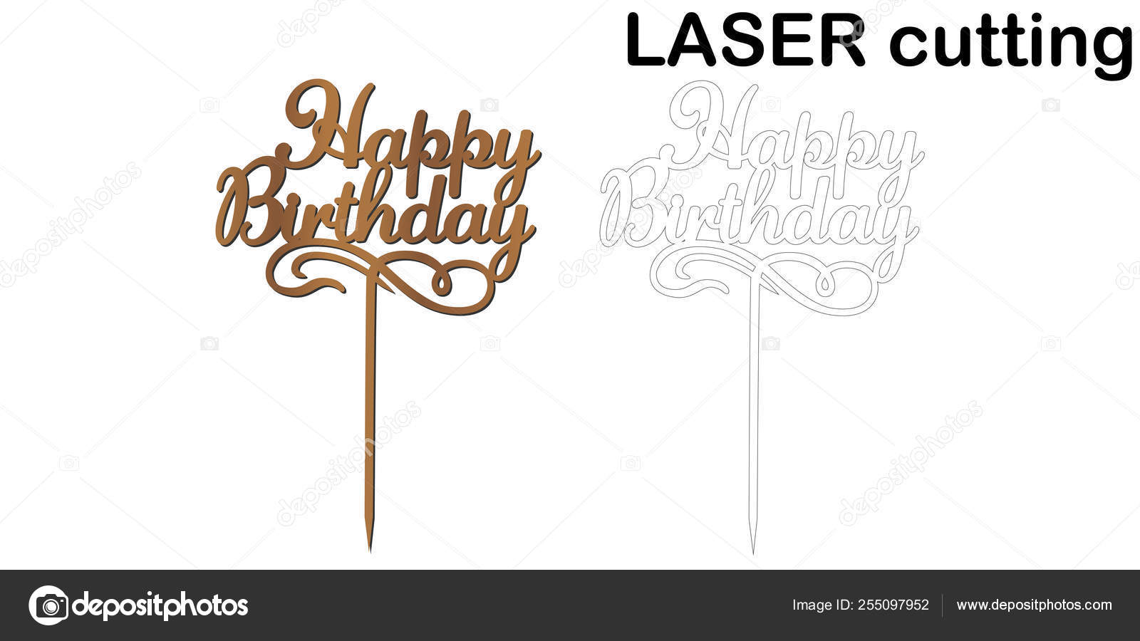 Sign Happy Birthday Cake Topper For Laser Or Milling Cut Stock Vector