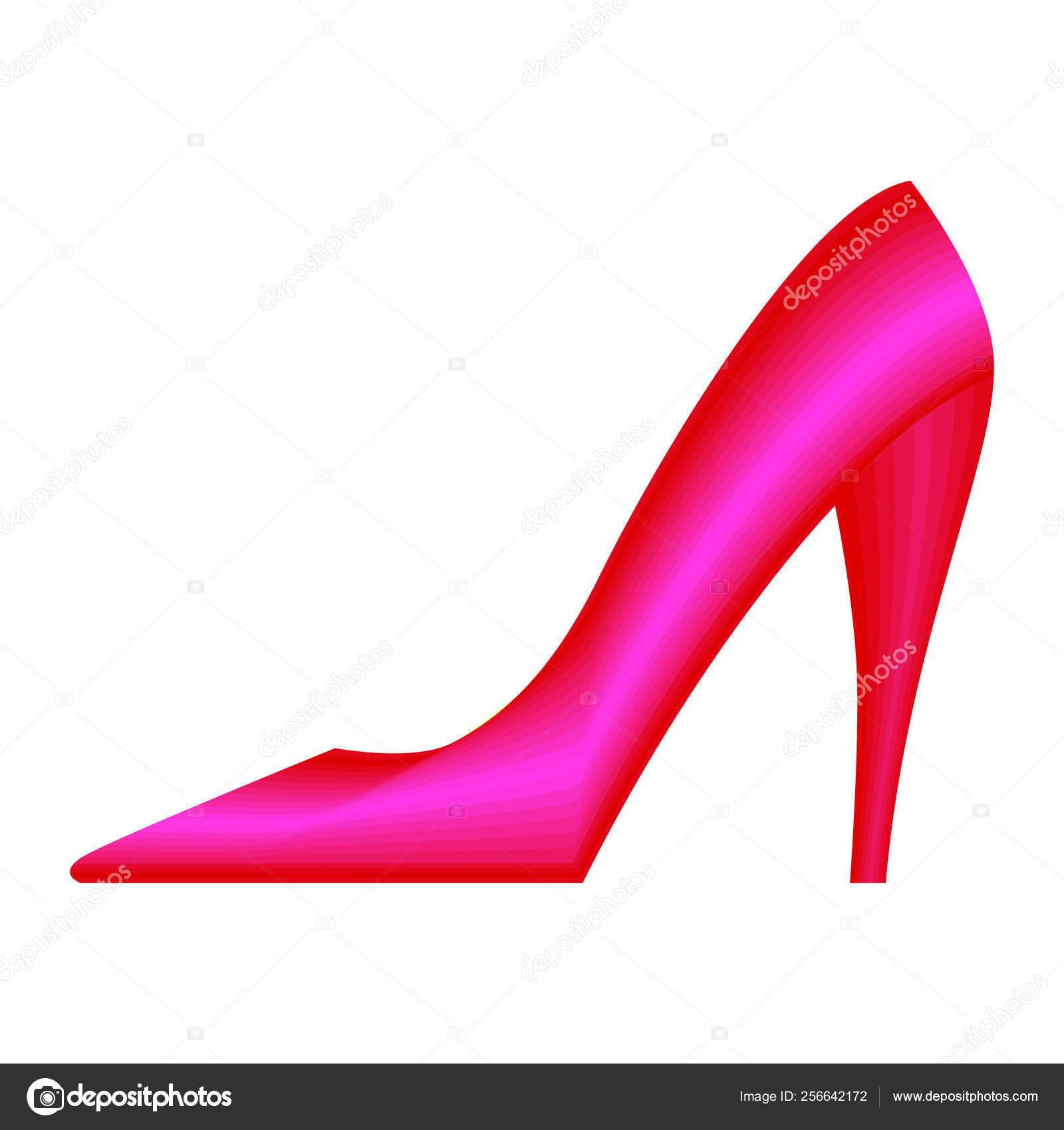 2820940107c Pink isolated icon of elegant classic shoe with high heel for women ...