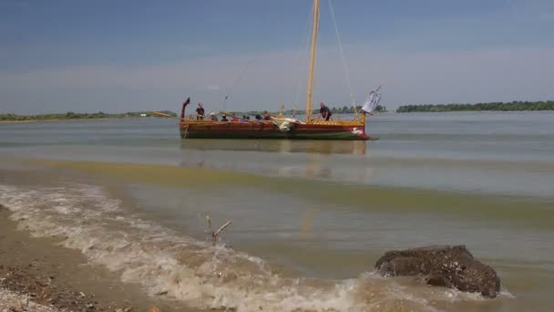 ISACCEA, ROMANIA - AUGUST 12: Liburna, Roman warship on the Danube river inside the project