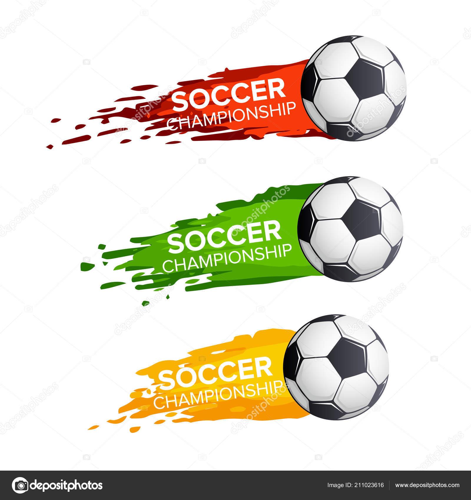 Futbol Campeonato de fútbol deporte torneo juego vector iconos o conjunto  de vuelo de la bola. Vector símbolo de la pelota de fútbol volando a meta  en el ... 906f27e7b2f6