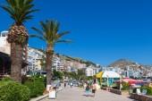 View of main street of new town Saranda, Albania. .