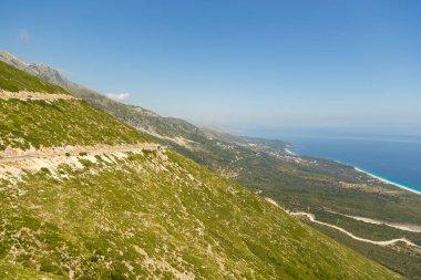 Scenic landscape view in Cikes Mountain, Llogara Pass, Albania