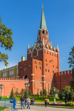 View on Moscow Kremlin tower Trinity bastille, Russia