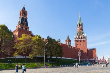 View of the wall of the Moscow Kremlin with towers, Russia.