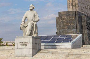 Monument of Konstantin Eduardovich Tsiolkovsky, Russian rocket scientist, Moscow, Russia.