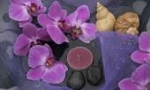 Složení lázně s květy orchideje