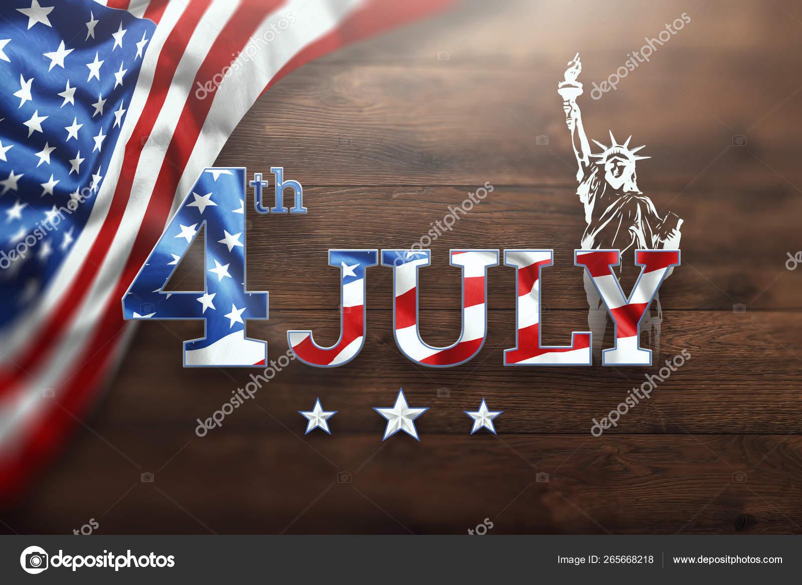 Δημιουργικό υπόβαθρο, επιγραφή 4ο Ιουλίου σε ξύλινο φόντο, ημέρα ...