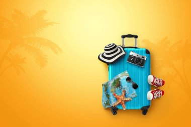 Creative background, blue suitcase, sneakers, map on a yellow background. Concept of travel, tourism, vacation, vacation, dream. Copy space. 3D illustration, 3D rendering