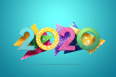 Photo Creative background, numbers 2020 multi-colored on a background of abstract shapes, on a blue background. Happy New Year, year of the rat, flyer, poster. 3D illustration, 3D design