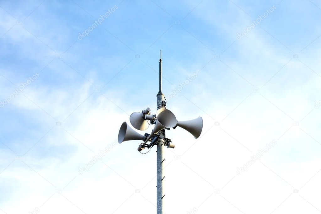 Loudspeaker to be used for the announcement of the event of a disaster.loudspeaker of disaster-forecast with clear blue sky.