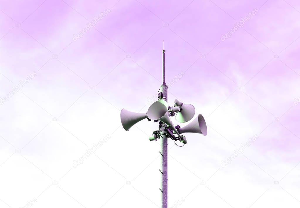 Loudspeaker to be used for the announcement of the event of a disaster.loudspeaker of disaster-forecast with pink, purple sky.