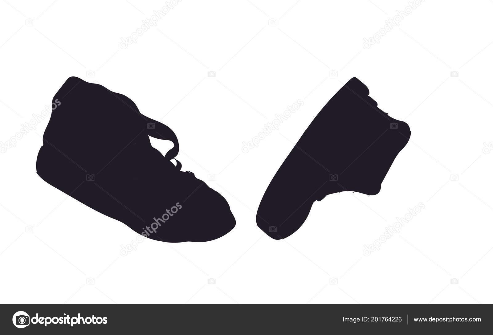 Schuhe Silhouette Vektor Weißer Hintergrund — Stockvektor
