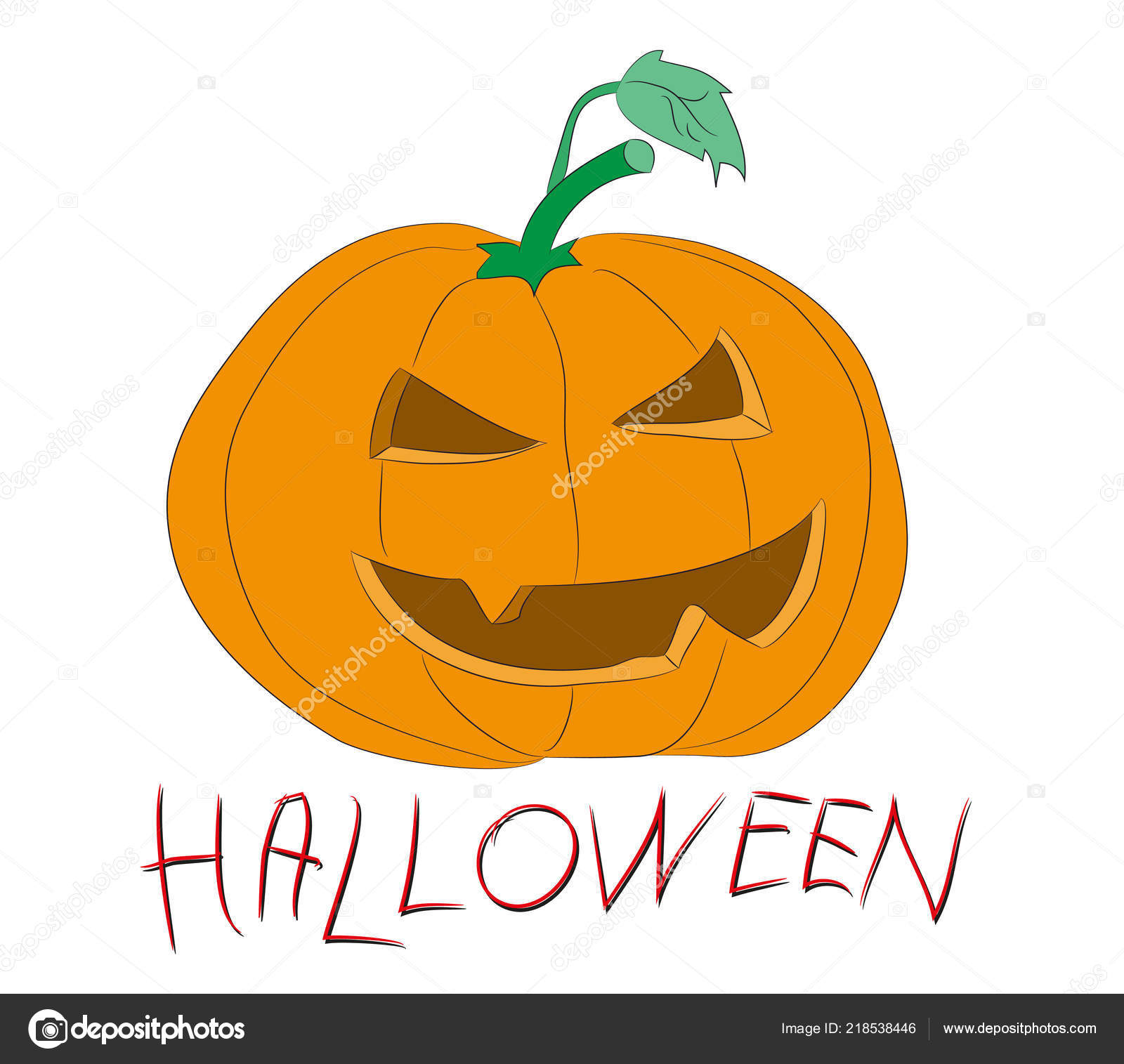 Halloween Pumpkin Drawing Color Vector White Background Stock