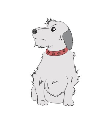 dog sitting, lines, vector