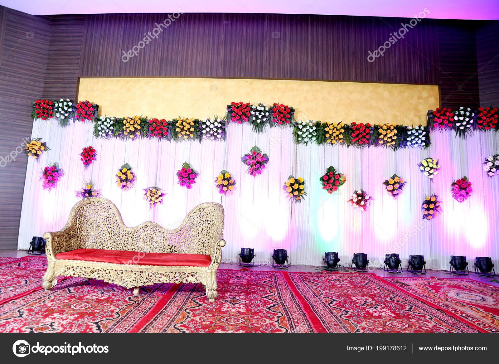 Beautiful Stage Decoration Wedding Ceremony Stock Photo