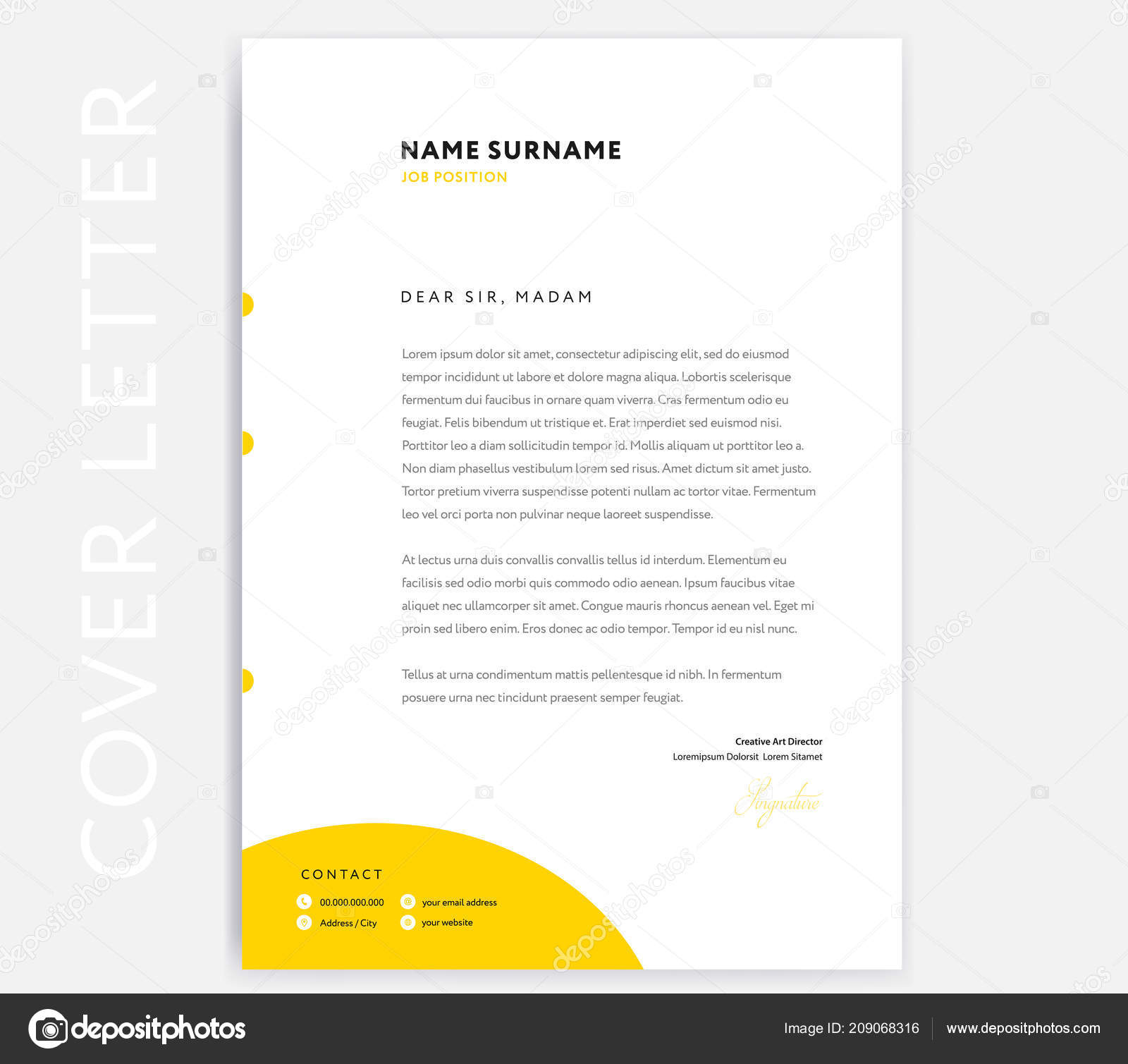 Yellow Cover Letter Template Design Curriculum Vitae