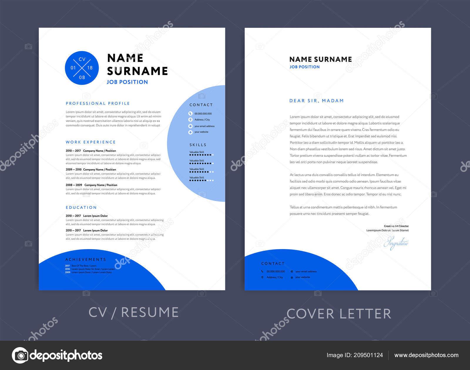 Professional Resume Template Blue Design Letterhead Cover Letter