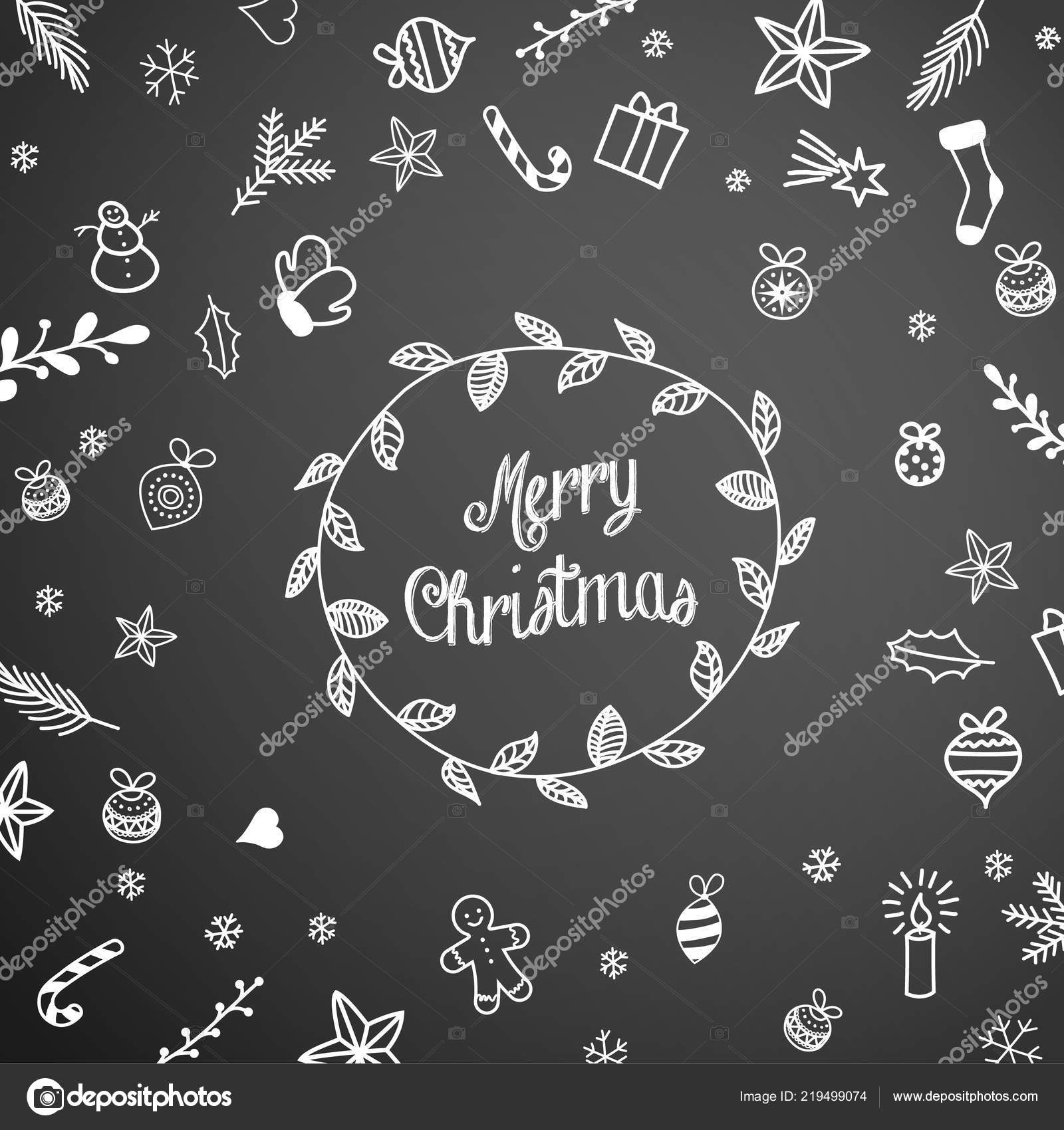 christmas doodles on black chalkboard seasonal theme stock vector