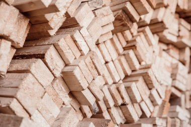 Close-up stack of wood blanks for production furniture chips