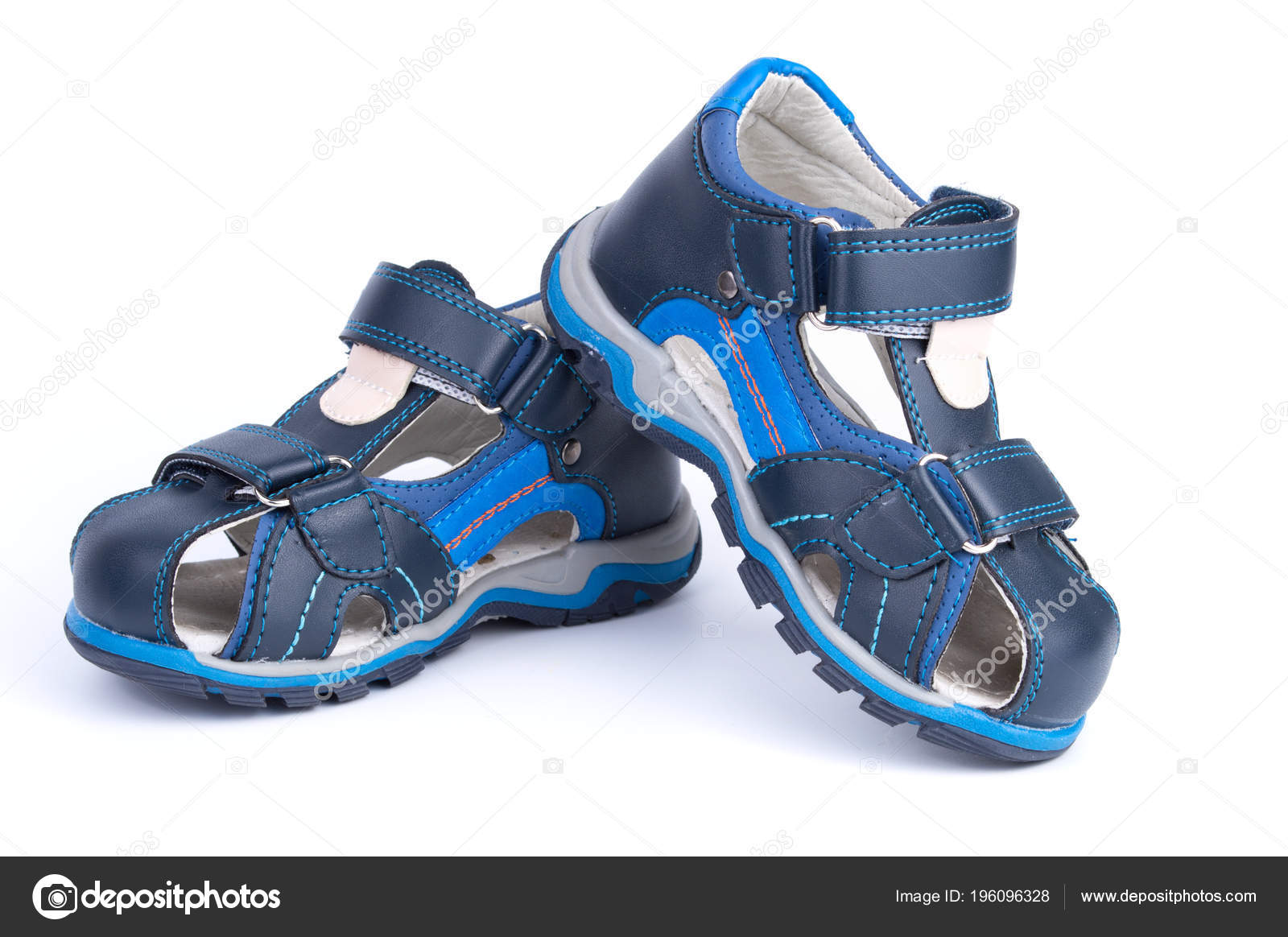68621faae Pair of blue baby sandals shoes isolated on white background — Stock Photo